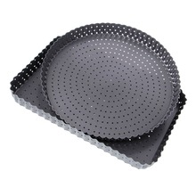 1Pc 9 inch Round/Rectangle Pizza Pan Cake Baking Mold Tray With Holes Non-stick Bakeware Carbon Steel Mould Kitchen Tool C42(China)