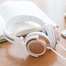 New Rose Gold Stereo Headphones Fashion Headset with Microphone Earphone for PC Computer Tablet iPhone iPad Mp3 Smartphone Girls