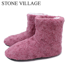 New Arrival 2017 Household Slippers 6 Colros Warm Soft Woolen Indoor Slipper Pretty Rose Veins Women Slippers Winter House Shoes(China)