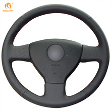 MEWANT Black Artificial Leather Car Steering Wheel Cover for Volkswagen Old VW Golf Polo Sagitar Lavida 2010 Polo