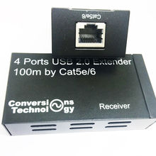 Active USB 2.0 extender by cat5e/6 cable up to 100M with 4-port USB hub