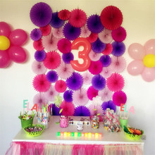 5pcs/Lot 12 Inch 30cm Colorful Tissue Paper Fans Round Wheel Disc Birthday Kids Party Celebration Home Wall Wedding Decoratons