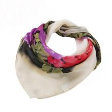 Imported China Beautiful cheap Vintage Women Printing Square Scarf Head Wrap Kerchief Neck Shawl chiffon ring echarpe femme(China)