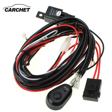 CARCHET HID Wiring Harness LED HID Work Driving Light Wiring Harness Kit Fog Spot Work Light 2.5m Length 12V 40A Switch Relay(China)