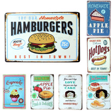 Vintage Metal Signs Hamburgers Hot Dogs Apple Pie Food Signs Poster Painting Shabby Chic Decor for Cafe House Restaurant Poster