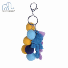 Lovely Colorful Tassels Pompom Balls Key Chain Women Car Bag Purse Accessories Decoration Pendant Plush Gift