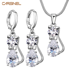 CARSINEL Zircon Cat Jewelry Sets Clear Zircon Stone Jewelry Set Silver color Jewellery for Girls Love Gift JS0012
