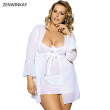 Buy Female Sexy Porn White Negligee Plus Size Lingerie Women Erotic Dress Sexy Sex Wear M XL XXXL 3XL 5XL XXXXXL