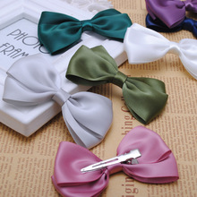 2pcs high quality 3 1/2 inches solid satin hair ribbon bows with single prong clip girls hair pin kids clip 2015 NEW