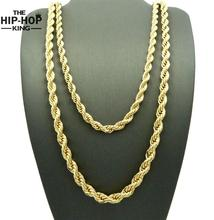 "Hip Hop Stainless steel Rapper's 3mm 20/24/30"" Rope Chain Mens Gold Filled Rope Chain Necklace"