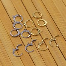 (50 Pieces/Pack) Stainless Steel Ear Wires Hoop Earring Hooks For DIY earring Findings Components Making, About 7mm diameter(China)