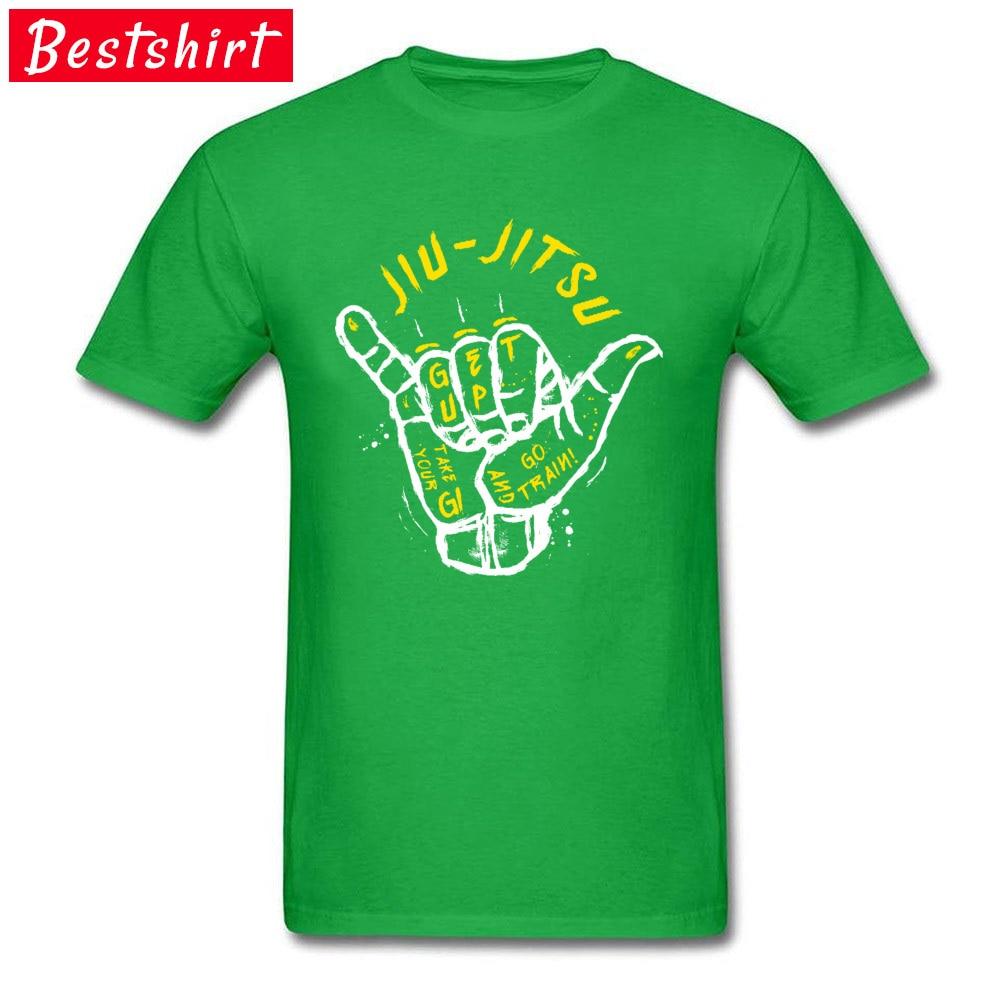 Youth T-Shirt Jiu-Jitsu-BJJ-Judo Slim Fit Tops Shirts 100% Cotton O-Neck Short Sleeve Fashionable Top T-shirts NEW YEAR DAY Jiu-Jitsu-BJJ-Judo green