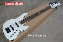 Hot Sale Custom 5-String Bass Guitar with White Body,Black Hardware,Black Binding,Active Circuit,can be Customized