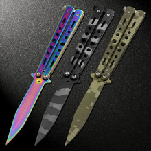 3 colors stainless steel knife Training Knife titanium knife Butterfly in knife for man gift+bag+screwdriver+spared bolts(China)