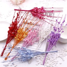cheap 10 pcs/lot Silk Artificial Dyeing Rose Cherry Flower Bouquet Scrapbooking Fake Flower Stamen Wedding  DIY Party Decoration