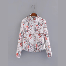 Autumn Winter New Women Fashion Floral Print High Quality Quilted Jacket, Female Vintage Elegant Slim Cotton Baseball Jackets(China)