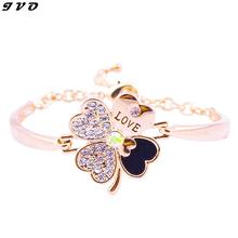 2016 Hot sale New Fashion Women Jewelry  Clover Gold color Bracelet Charm Bracelet wholesale