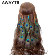AWAYTR Feather Peacock Headband Native American Indian Artificial Feather Headband Braided Headbands Hair Accessories Halloween