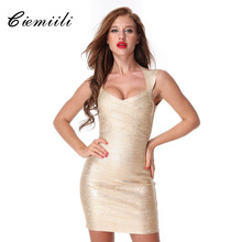 Buy CIEMIILI 2017 Summer Women New Sexy Bandage Dress V-neck Evening Party Bodycon Dress Celebrity Printed Sleeveless Free for $36.16 in AliExpress store