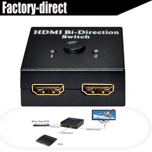 HDMI Switch 2X1 or HDMI Splitter 1X2 HDMI bi-direction switcher splitter selector with HDCP Passthrough, 3D and 1080p Support(China)