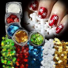 1Pcs 3D Colorful Snowflakes Winter Christmas Style Nail Art Glitter Stickers Powder Nail Gel Tools For Nail DIY Decoration TR396