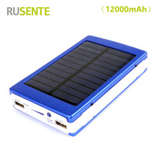 High quality Portable Solar Power Bank 12000mAh bateria externa portatil Dual USB LED Mobile Phone Battery Charger