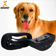 Hoopet Dog Anti Bark Control Collar Auto Vibration Shock Training Stop Barking Bark Deterrents leather leash Drop Shipping