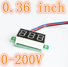 "0.36"" Digital Voltmeter DC 0-200V  3 digit Voltage Panel Meter Red LCD  Display for Electromobile Motorcycle Car 30%off"