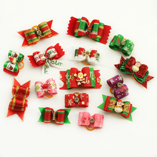 Armi store Handmade Christmas Dogs Grooming Bow 10Pcs/lot Mixed Ribbon Pet Hair Bow Pet Rubber Bands Dog Show Supplies(China)