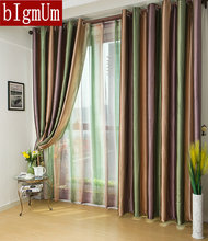 Customized Free Shipping --European style Window Curtains Stripes For Living Room/bedding Room Blue/Purple/Brown Blackout Drapes