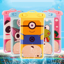 Cartoon Minions Cute Waterproof Pouch Universal Phone Bags with Lanyard Swimming Case for IPhone 6 6S 7 Plus Below 5.8 Inch