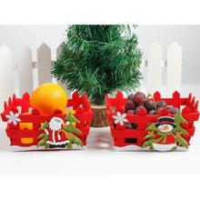 Christmas Candy Fruit Basket Xmas Event Apples Gift Basket Hollow Basket Christmas Desktop Decoration Home Party Supplies 20(China)