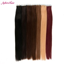 Aphro Hair 20pcs Tape In Hair Extensions Non-Remy Brazilian Straight Hair 100% Human Hair Skin Weft #1#1b#2#4#6#27#613#99j