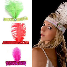 Flapper Feather Headband Flapper Sequin Charleston Costume Headband Band Party mixed more colors
