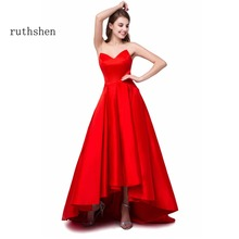 ruthshen 2017 Sexy High Low 1950's Prom Dresses Cheap Sweetheart Draped Short Front Long Back Red Formal evening gowns