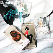Luxury Fashion Cartoon Dress Shopping Beautiful Girl Case For Iphone 6 6s 7 5 5s SE Plus Transparent Clear TPU Phone Back Cover(China)