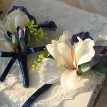 Wrist Flower Silk Ribbon Bride Corsage Hand Decorative Wristband Bracelet Bridesmaid Clip Band Curtain Bouquet Lily Ribbon 1pc 5
