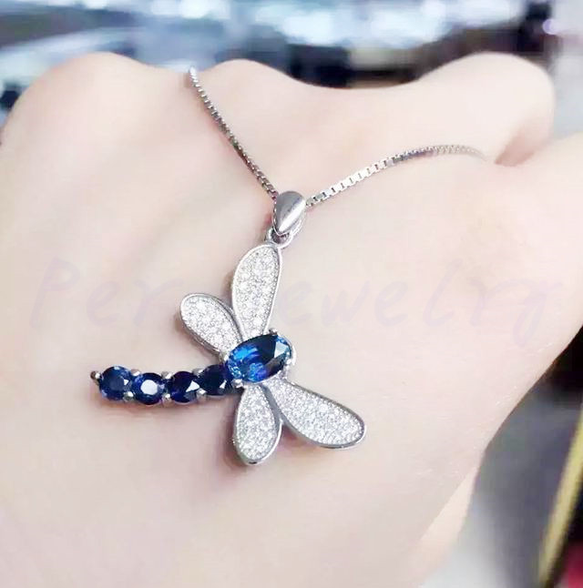 Natural sapphire pendant Free shipping Dragonfly style 925 sterling silver 0.6ct*1pc 0.15ct*4pcs gemstone #T180817706