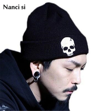 Brand Nanci si 3 Colors Warm Winter Skeleton Beanie Cap Acrylic Knit Hat Skull Style Skullies Beanies For Woman And Man Unisex(China)