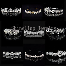 Exquisite Art Deco Wedding Tiara Rhinestones Headband Crystal Bridal Crown Headpiece Pearls Wedding Hair accessories
