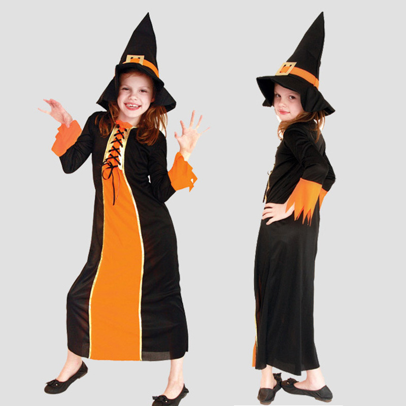 Retail Halloween Cosplay Costumes for Girls Pumpkin Princess Dress Kids Masquerade Fancy Dress Children Cosplay Clothes with Hat<br><br>Aliexpress