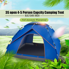 High Quality Blue Dark green4-5 Person Capcity Full Automatic Waterproof Camping Tent Outdoor Camping Hiking Tent(China)