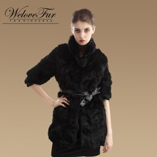 2015 Genuine Rabbit Fur Jacket Women Fashion Natural Rabbit Fur Coats Warm Winter Fur Garment(China)