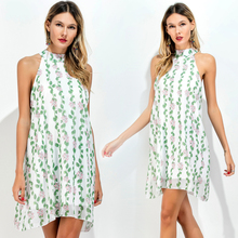 External mold make EBAY amazon collar sleeveless printed chiffon a-line dress dress # 8371 spot