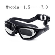 Super big Swimming glasses myopia Adult silicon Swimming goggles optical anti fog adjustable water goggles swim eyewear(China)