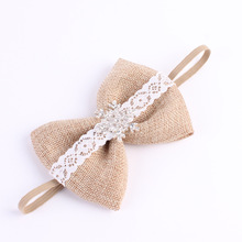 wholesale wedding Burlap Bow Matching Sparking Rhinestone Headband lace Bow Headbands Girl Hair Accessory 300pcs/lot(China)