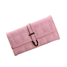 European Style Trifold Women Clutch Long Wallet Solid Scrub Drawstring Purse Ladies Credit Card Holder Wallets For Woman