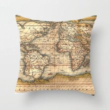 Old World Map Throw Pillow Case Decorative Cushion Cover Pillowcase Customize Personalize Gift By LVSURE For Car Sofa Seat