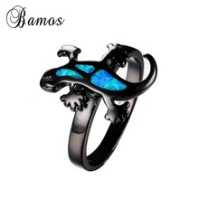 Punk Style Gecko Shape Blue Fire Opal Ring Black Gold Filled Wedding Party Engagement Rings For Women Men Bijoux Newest RB0926(China)
