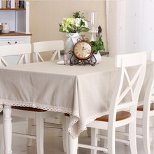 Nature Solid Linen Lace TableCloth Cover Fashionable European Table Cloth for Rectangular Table  Palcemats on The Table Sets